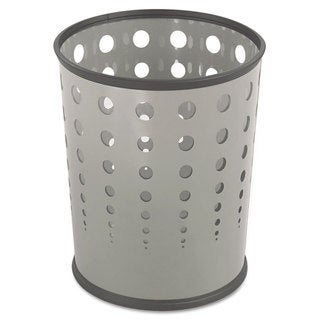 Safco Bubble Wastebasket Round Steel 6gal Grey