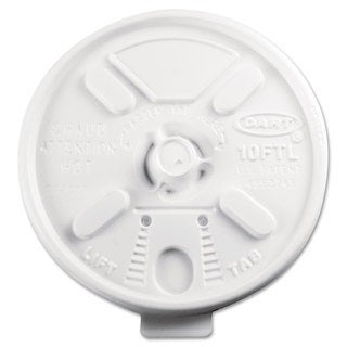 Dart Lift N' Lock Plastic Hot Cup Lids Fits 10-ounce Cups White 1000/Carton