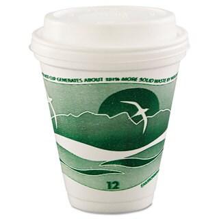Dart Horizon Hot/Cold Foam Drinking Cups 12-ounce Green/White 25/Bag 40 Bags/Carton