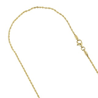 LUXURMAN Solid 14k White or Yellow Gold 1.3mm Wide Rope Chain Diamond-cut Necklace with Lobster Clasp