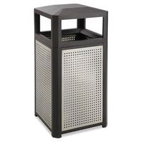 Safco Evos Series Steel Waste Container 15gal Black