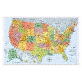 Advantus U.S. Physical/Political Map Dry Erase Single Roller Mounted 50 x 32