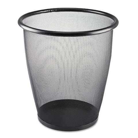 Safco Onyx Round Mesh Wastebasket Steel Mesh 5gal Black