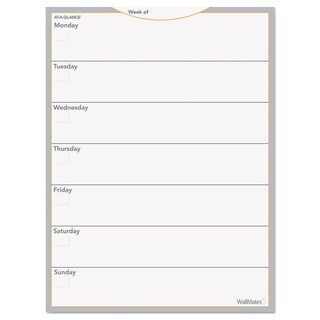 AT-A-GLANCE WallMates Self-Adhesive Dry Erase Weekly Planning Surface 18 x 24