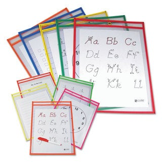 C-Line Reusable Dry Erase Pockets 9 x 12 Assorted Primary Colors 10/Pack