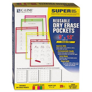 C-Line Reusable Dry Erase Pockets 9 x 12 Assorted Neon Colors 25/Box