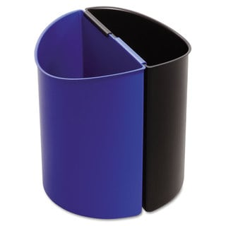 Safco Desk-Side Recycling Receptacle 3gal Black and Blue