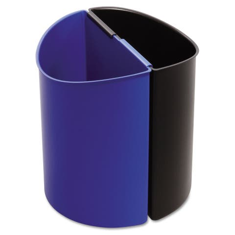 Safco Desk-Side Recycling Receptacle 3gal Black/Blue