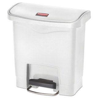Rubbermaid Commercial Slim Jim Resin Step-On Container Front Step Style 4 gal White
