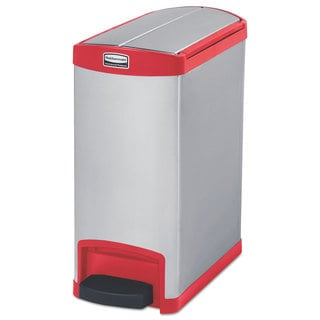 Rubbermaid Commercial Slim Jim Stainless Steel Step-On Container End Step Style 8 gal Red