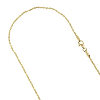 Luxurman 14k Gold 1.5-millimeter Rope Chain Diamond-cut Necklace