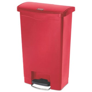 Rubbermaid Commercial Slim Jim Resin Step-On Container Front Step Style 13 gal Red