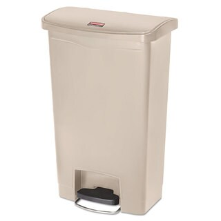 Rubbermaid Commercial Slim Jim Resin Step-On Container Front Step Style 13 gal Beige