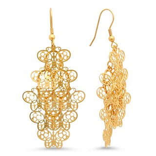 18k Gold-plated Butterfly Filigree Drop Earrings