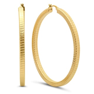 18k Gold Plated Box Hoop Earrings