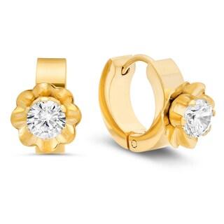 18k Goldplated Stainless Steel Cubic Zirconia Flower Huggies Earrings