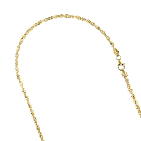 Luxurman Solid 14k Gold 2.3mm Wide Rope Chain Diamond-cut Necklace Lobster Clasp