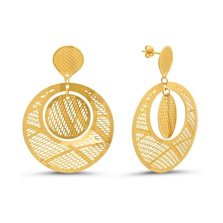 Ladies 18k Goldplated Circular Filigree Drop Earrings