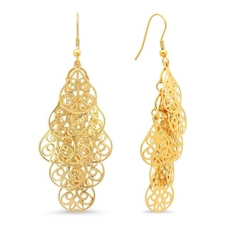 18k Yellow Gold-plated Filigree Drop Earrings