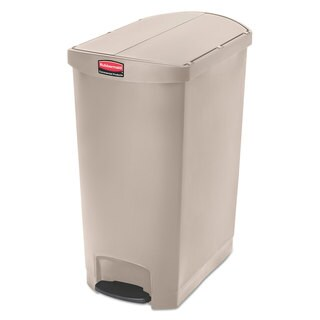 Rubbermaid Commercial Slim Jim Resin Step-On Container End Step Style 24 gal Beige