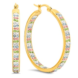 18k Gold-plated Stainless Steel Multicolored Cubic Zirconia Hoops