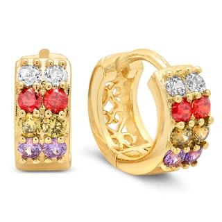 18k Gold Plated Multicolored CZ Saddleback Earrings