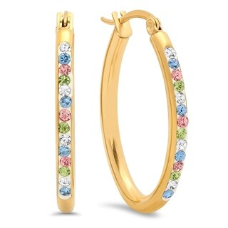 18K Gold-plated Stainless Steel Multicolored Cubic Zirconia Oval Hoops