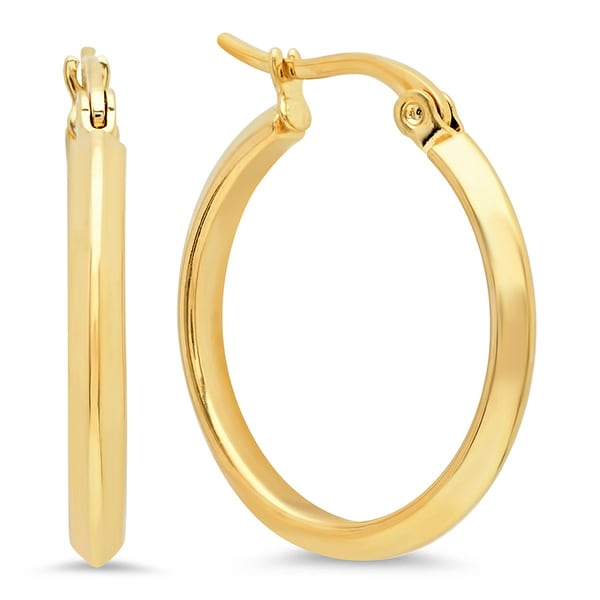 Piatella Ladies Gold Tone Stainless Steel Pointed Hoops. Opens flyout.