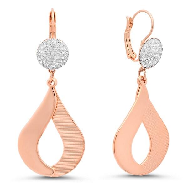 2c3311d88bd4e Shop Piatella Ladies Rose Gold Tone Pave Cubic Zirconia Drop ...