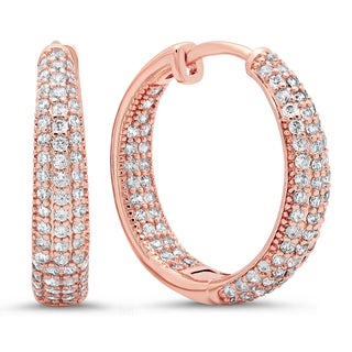 Rose-Goldplated Copper/Cubic Zirconia Hoop Earrings