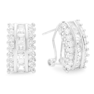 Cubic Zirconia 18k White Goldplated Baguette Huggies