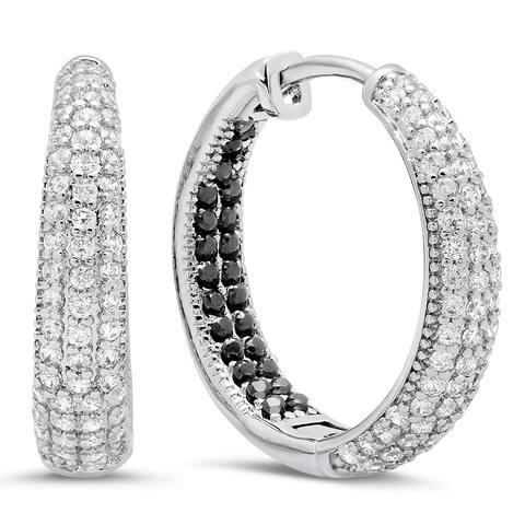 Piatella Ladies White Gold Tone Cubic Zirconia Hoop Earrings