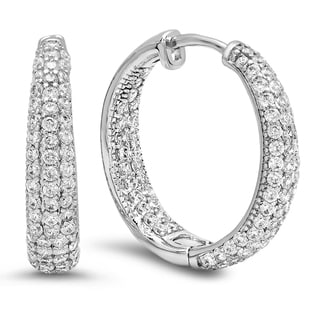 18k White Gold-plated Brass and Cubic Zirconia In and Out Hoop Earrings