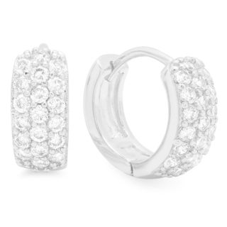 CZ 18k White Goldplated Round Huggies