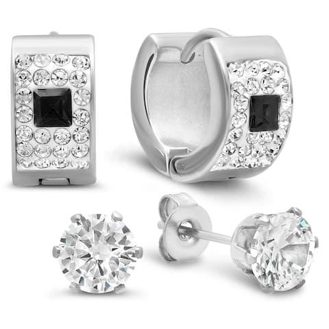 Piatella Ladies Set of 2 Stainless-steel Cubic Zirconia Earrings