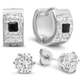 Black and White CZ Stainless-steel Huggie and Stud Earrings (Set of 2)
