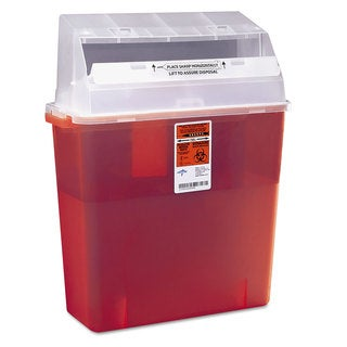 Medline Sharps Container for Patient Room Plastic 3gal Rectangular Red