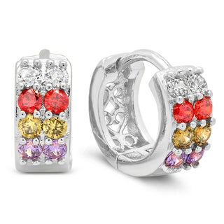 White Gold Plated Multicolored Cubic Zirconia Saddleback Earrings