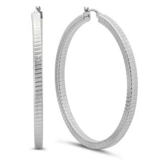 Silvertone Stainless Steel Box Hoop Fashion Earrings