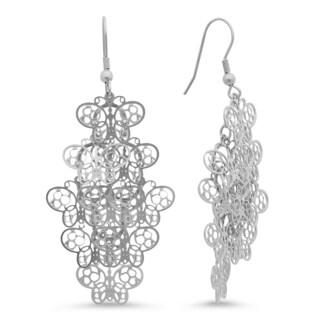 Silvertoned Stainless Steel Butterfly Filigree Drop Earrings