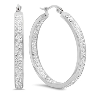 Stainless Steel In and Out Cubic Zirconia Hoops