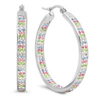 Stainless Steel In and Out Multicolored Cubic Zirconia Hoops