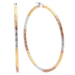 Tricolor 18K Goldplated Stainless Steel Hoop Earrings