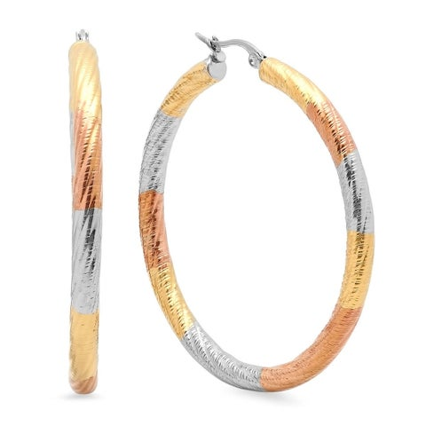 Piatella Ladies Tri-Colored Stainless Steel Thick Hoop Earrings