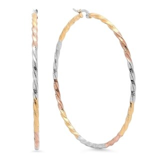Tricolor 18k Goldplated Twist Hoop Earrings