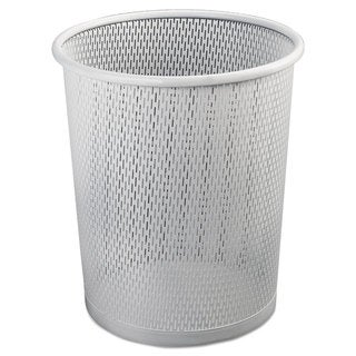 Artistic Urban Collection Punched Metal Wastebin 20.24 oz Steel White Satin 9-inchDia