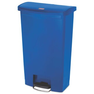 Rubbermaid Commercial Slim Jim Resin Step-On Container Front Step Style 18 gal Blue