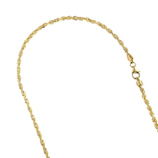 LUXURMAN Solid 14k Yellow Gold 4mm Wide Rope Chain Diamond-cut Necklace with Lobster Clasp