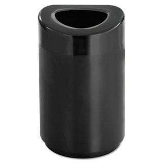Safco Open Top Round Waste Receptacle Steel 30gal Black