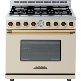 "Tecnogas Superiore Range DECO 36""Range DECO 36"" Classic Cream Matte with Accents Brass"